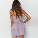 Fashion floral sling high waist fold chiffon print dress NHAG335926