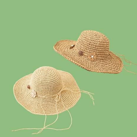 Sombrero de paja de protección solar con sombrilla de ala grande de flor rosa coreana NHAMD335936's discount tags