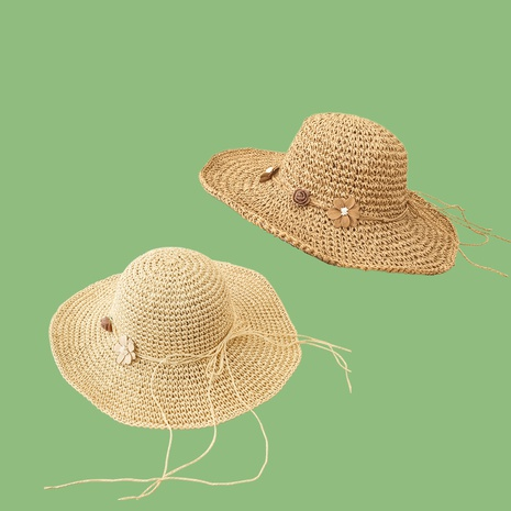 Korean rose flower big brimmed sunshade sunscreen straw hat NHAMD335936's discount tags