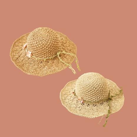 Sombrero de paja de protección solar de sombrilla de ala ancha de flor de moda NHAMD335939's discount tags