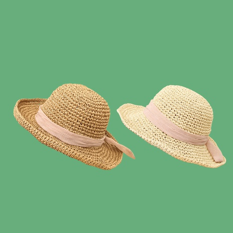 Fashion bowknot plain weave sunshade sunscreen straw hat NHAMD335940's discount tags