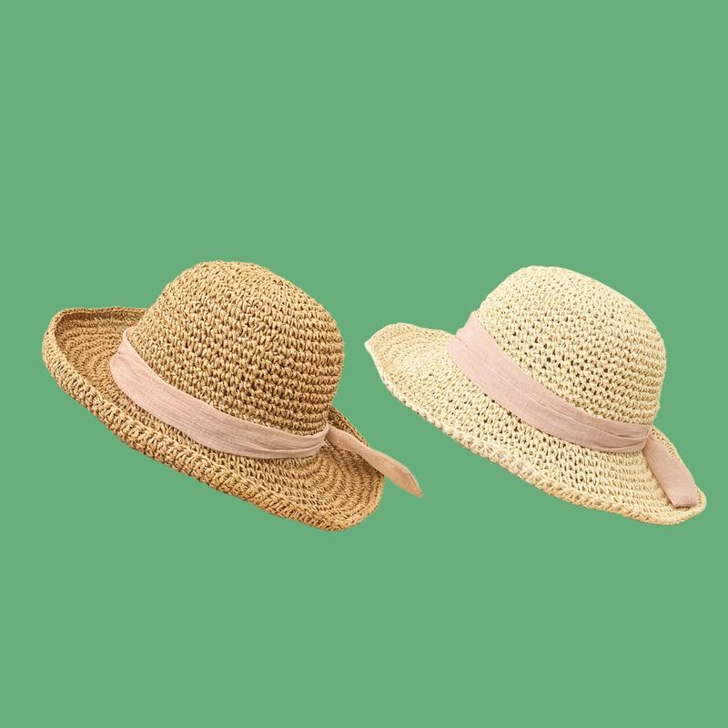 Fashion bowknot plain weave sunshade sunscreen straw hat NHAMD335940