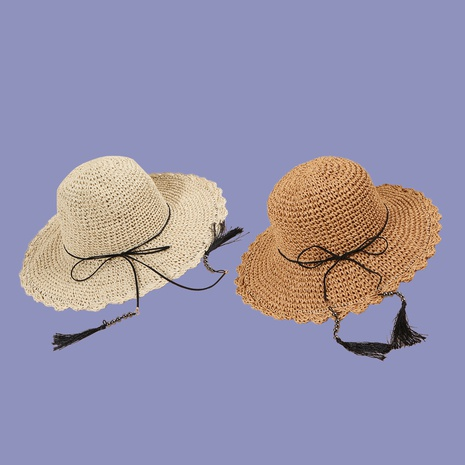 Moda borla colgante hoja de loto mano crochet sombrilla protector solar sombrero de paja NHAMD335941's discount tags
