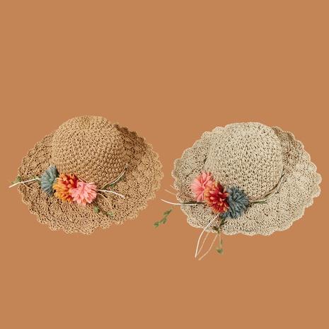Sombrero de paja de protección solar de sombrilla de ala ancha de flor de moda NHAMD335942's discount tags