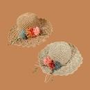 Fashion flower wide brimmed sunshade sunscreen straw hat NHAMD335942