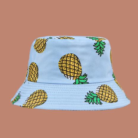 Sombrero de pescador de protección solar con sombrilla de piña impresa coreana NHAMD335945's discount tags