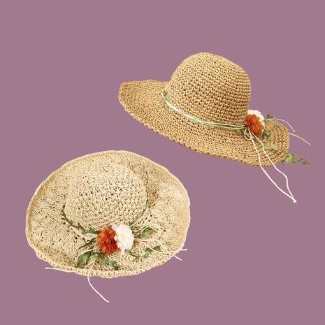 Sombrero de paja hecho a mano con sombrilla de ala ancha de ratán de flores de estilo coreano NHAMD335956's discount tags