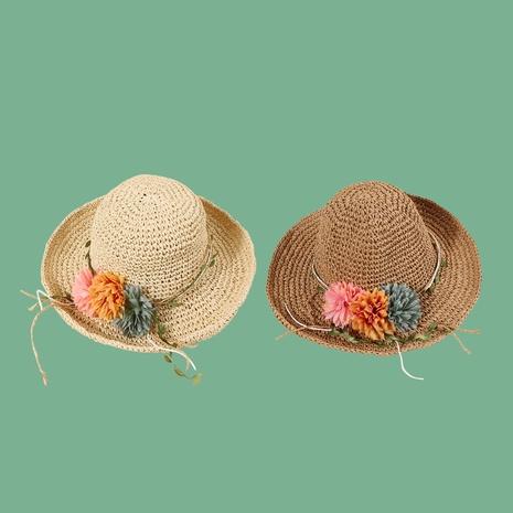 Sombrero de paja del gancho de la mano de la flor de la vid de la hoja verde de la moda NHAMD335957's discount tags