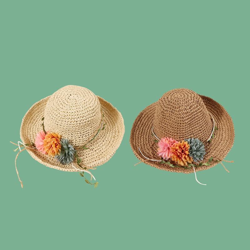 Fashion green leaf vine flower hand hook straw hat NHAMD335957