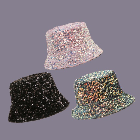 Pink sequin double-sided sunshade fisherman hat NHAMD335970's discount tags