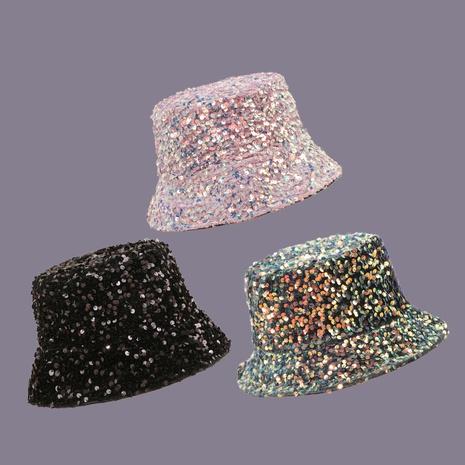 Sombrero de pescador con sombrilla de doble cara y lentejuelas rosa NHAMD335970's discount tags