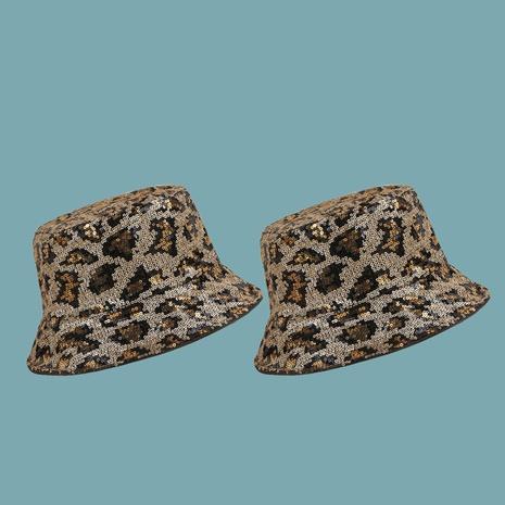 Sombrero de pescador con sombrilla y lentejuelas con estampado de leopardo coreano NHAMD335971's discount tags