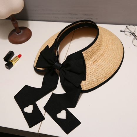 Fashion sunscreen cover face big along empty top straw hat NHALD335978's discount tags