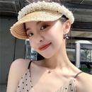 Korea handsewn pearl empty top straw hat NHALD335994