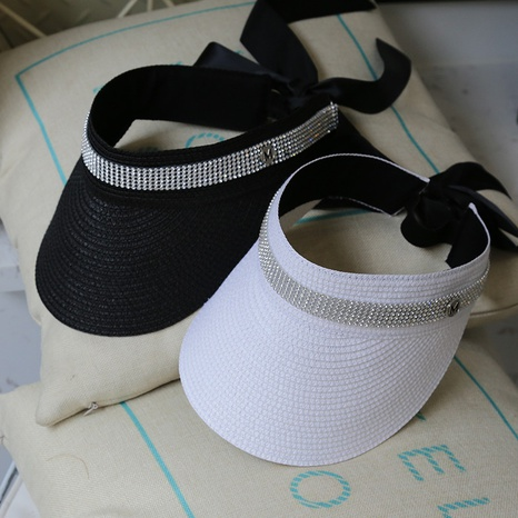 Fashion ribbon bow empty top straw hat NHALD335998's discount tags
