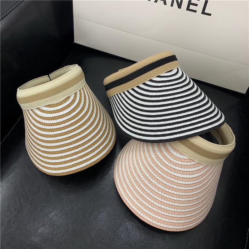 Korean striped sunshade empty top straw hat  NHALD336015