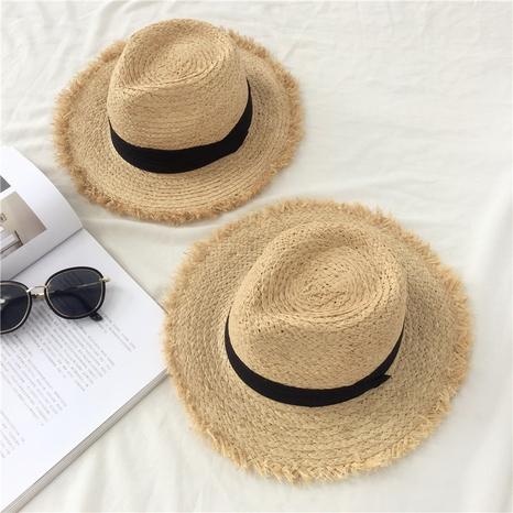 Sombrero de paja de rafia áspera de sombrero de copa de ala grande de moda NHALD336025's discount tags