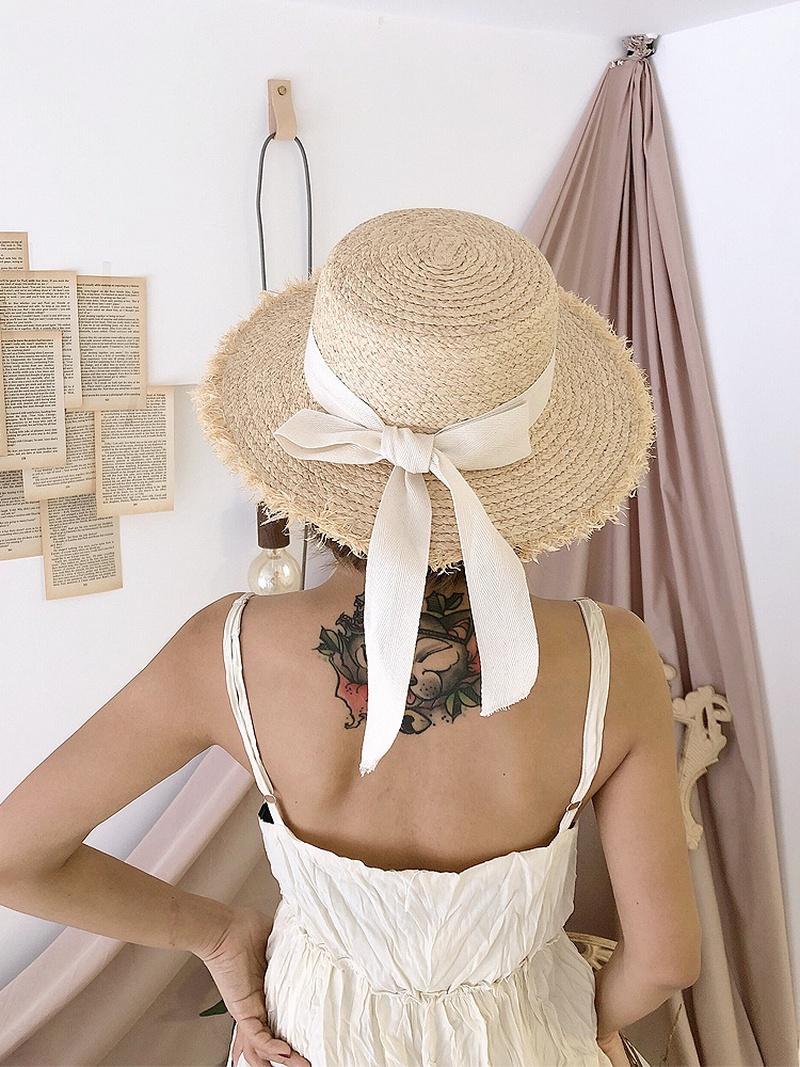 Korean bowknot frayed top Raffia straw hat NHALD336028