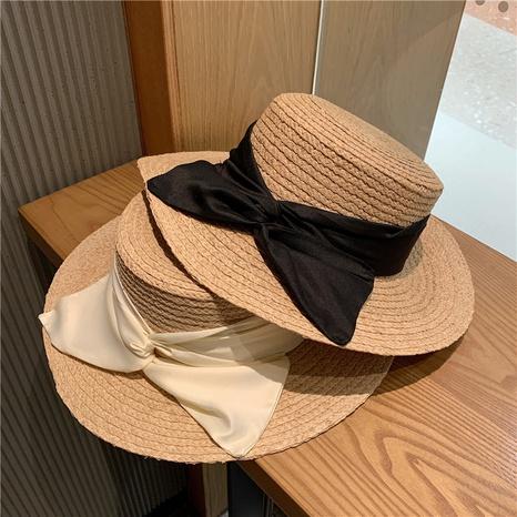 Sombrero de paja del bowknot del satén de seda del protector solar de los aleros grandes de la moda NHALD336029's discount tags