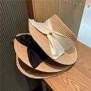 Fashion big eaves sunscreen silk satin bowknot straw hat NHALD336029