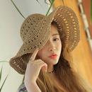 Korean sunscreen bigedge hollow sunshade folding straw hat NHALD336032