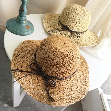 Korean hand-woven big-edge folding straw hat NHALD336033's discount tags
