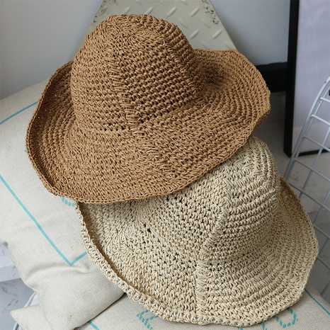 Fashion foldable sunshade breathable fisherman straw hat NHALD336034's discount tags