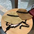 Fashion lace strap sunscreen straw hat NHALD336036
