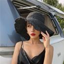 Korean bigbrimmed sunscreen foldable straw hat NHALD336040