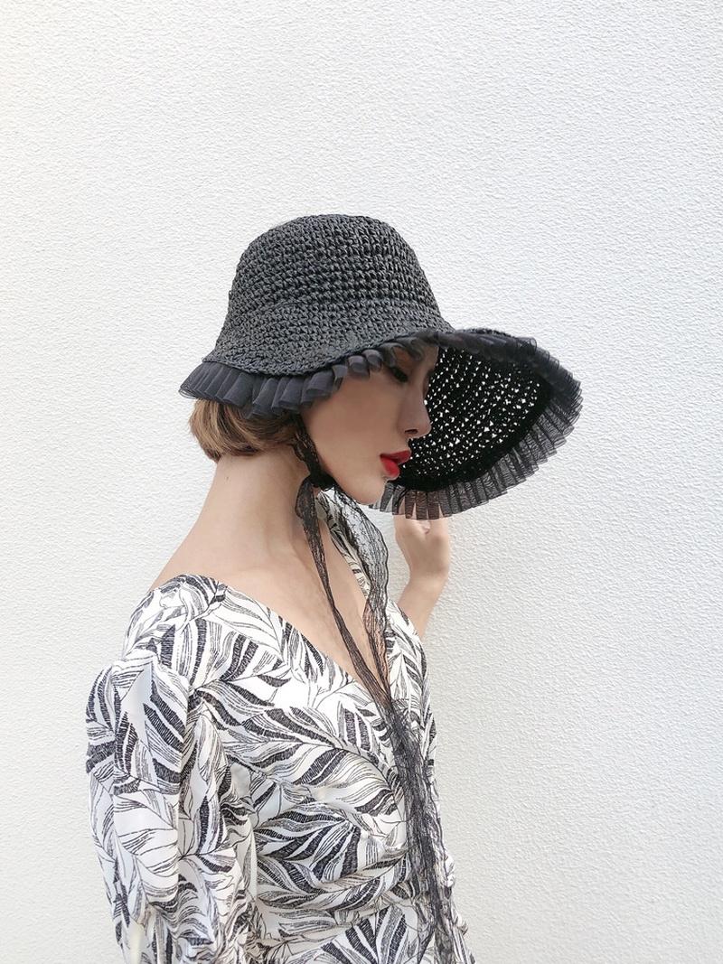 Fashion lace sunscreen sunshade empty top straw hat NHALD336043