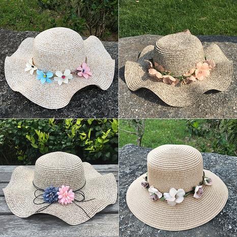 Sombrero de paja plegable de protección solar de flores de moda NHANS336044's discount tags