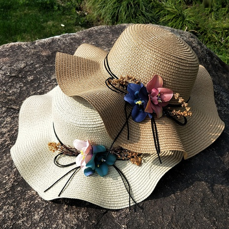 Fashion sunshade flowerbig eaves sunscreen foldable straw hat NHANS336045's discount tags