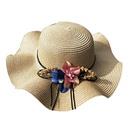 Fashion sunshade flowerbig eaves sunscreen foldable straw hat NHANS336045