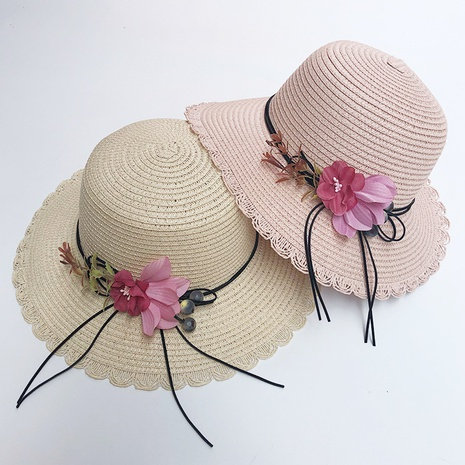 Korean flower sunshade sunscreen foldable straw hat NHANS336048's discount tags