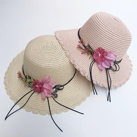 Sombrero de paja plegable coreano de la protección solar de la sombrilla de la flor NHANS336048's discount tags