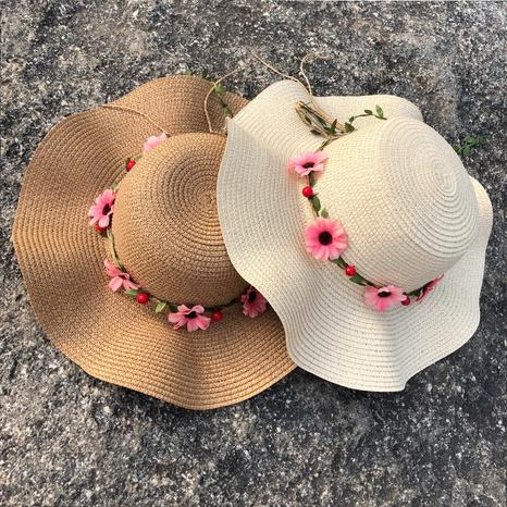 Sombrero de paja de protección solar de sombrilla de ala grande de moda NHANS336049's discount tags