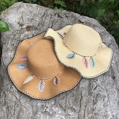 Sombrero de paja plegable de protección solar de sombrilla coreana NHANS336051's discount tags