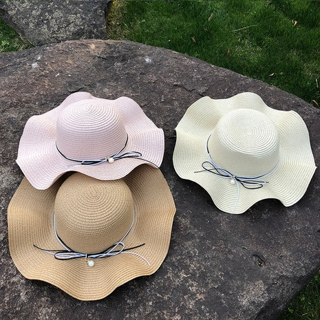 Korean pearl big brim sunscreen straw hat NHANS336052's discount tags