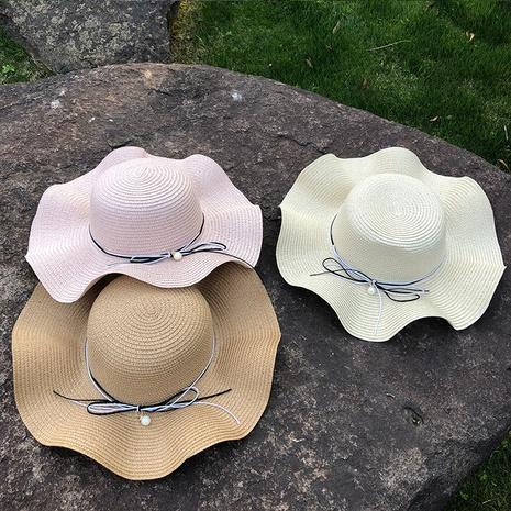 Sombrero de paja con protector solar de ala grande con perlas coreanas NHANS336052's discount tags