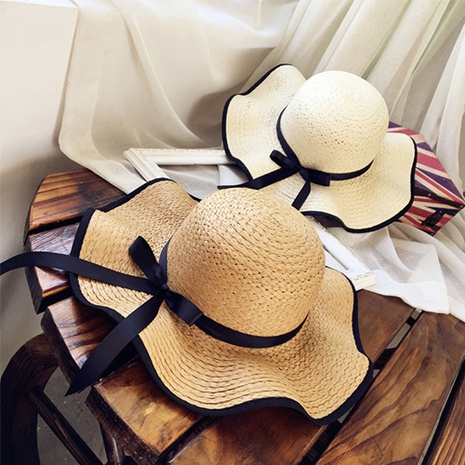 Sombrero de paja de protección solar de sombrilla de bowknot coreano NHANS336053's discount tags
