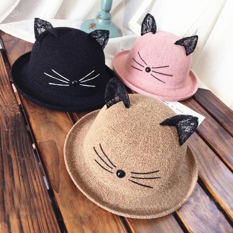 Sombrero de paja de protección solar de sombrilla de orejas de gato de encaje coreano NHANS336054's discount tags