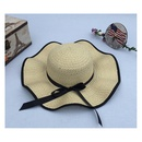 Fashion sunshade bow big brim sunscreen straw hat NHANS336055