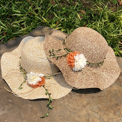 Sombrero de paja de protección solar de aleros grandes de flor de moda NHANS336057's discount tags