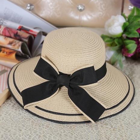 Korean big eaves bow foldable sunscreen straw hat NHANS336056's discount tags