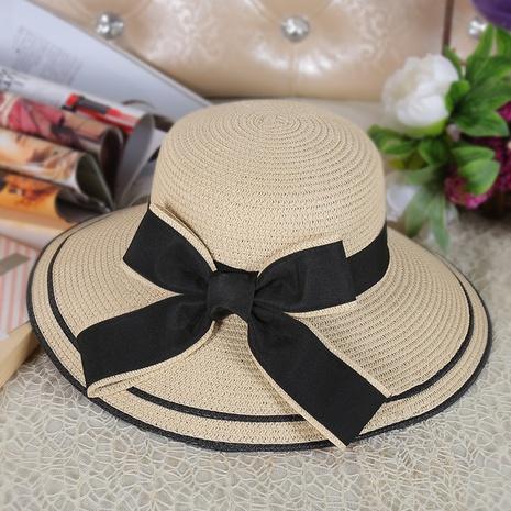 Sombrero de paja de protección solar plegable con arco de aleros grandes coreanos NHANS336056's discount tags