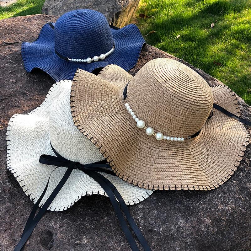 Korean big eaves pearl bow sunscreen straw hat NHANS336058