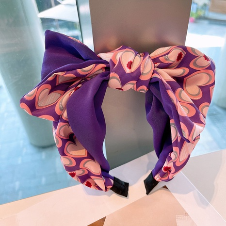 Korean bowknot heart printing headband NHHD336074's discount tags