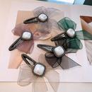 Korean bow ribbon yarn rhinestone hairpin NHHD336080