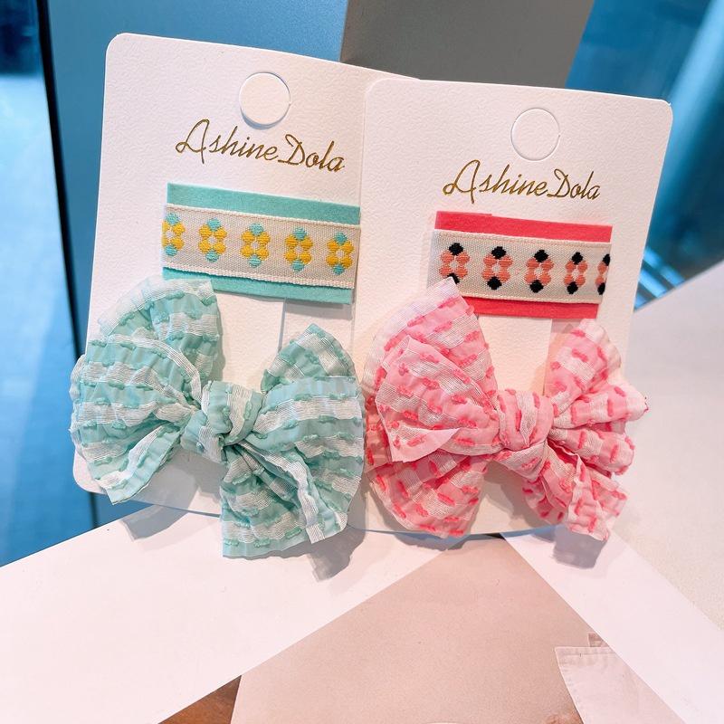 Korean colorful bow hairpin NHHD336081