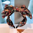 retro rose printing large double bow headband   NHHD336086